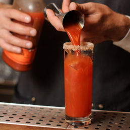 Bloody Mary Cocktail Making